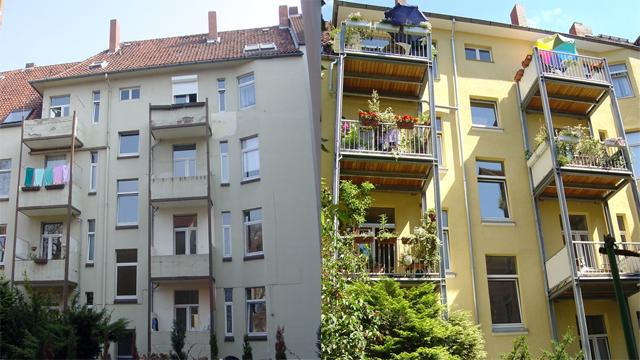 Balkone und Fassade Bülowstr. Hannover